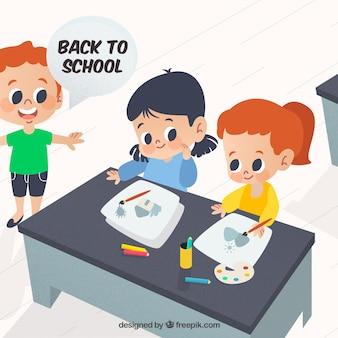 Powrót do szkoły w tle z trójką dzieci