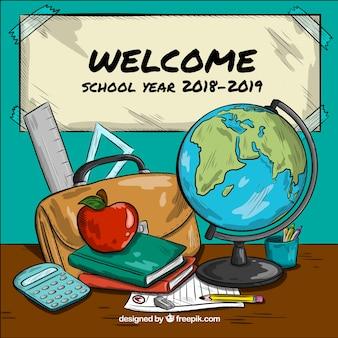 Powrót do szkoły z ręcznie rysowane obiekty