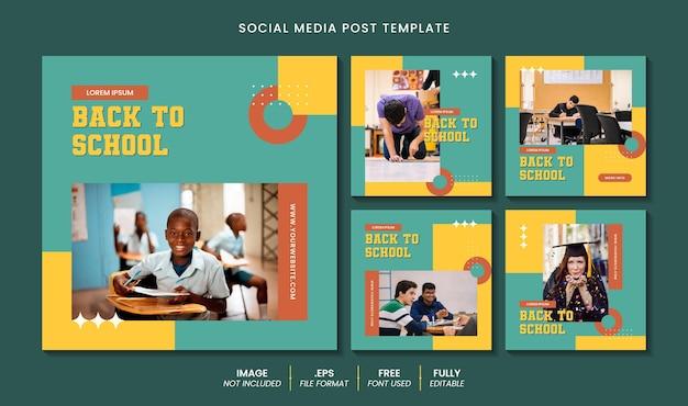 Powrót do szkolnego banera w mediach społecznościowych i szablonu postu na instagramie z edytowalnym efektem tekstowym