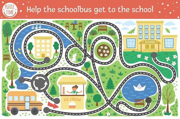 Powrót do szkolnego labiryntu dla dzieci. aktywność edukacyjna do druku przedszkolnego. zabawna układanka z uroczym autobusem szkolnym, domami, drzewami, parkiem. pomóż autobusowi dostać się do szkoły. jesienna gra dla dzieci.