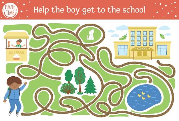 Powrót do szkolnego labiryntu dla dzieci. aktywność edukacyjna do druku przedszkolnego. zabawna układanka z uroczym uczniem, mapą drogową, parkiem. pomóż chłopcu dostać się do szkoły. jesienna gra dla dzieci z uczniem.