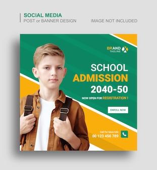 Powrót do szkolnego posta na instagramie w mediach społecznościowych