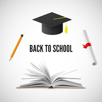 Powrót do szkolnego sztandaru. ilustracja edukacji i wiedzy