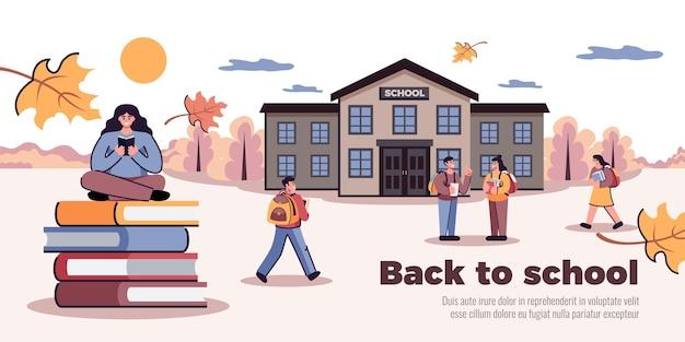 Powrót do szkolnej ilustracji jesienią