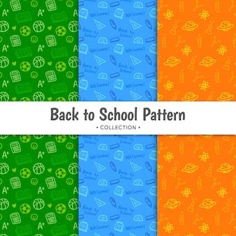Powrót do szkolnej kolekcji wzorów w trzech kolorach