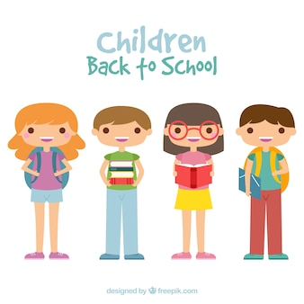 Powrót do szkolnej kompozycji z płaskimi dziećmi