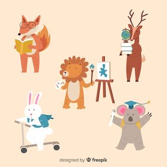 Powrót do szkolnej paczki zwierząt