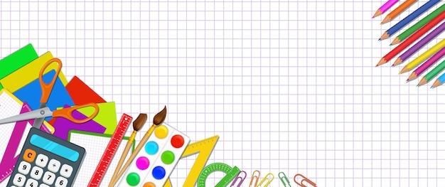 Powrót do szkolnych plakatów z kolorowymi realistycznymi przyborami szkolnymi z przedmiotami