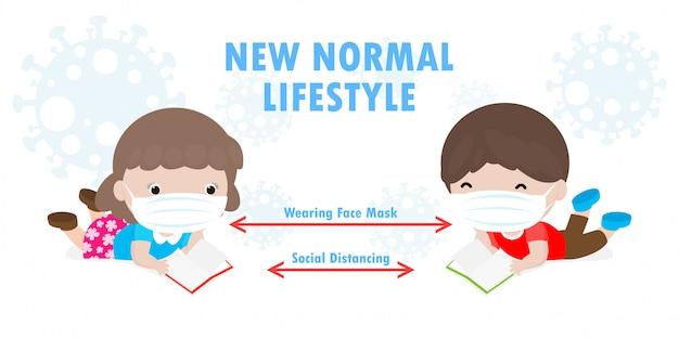 Powrót do szkoły, aby uzyskać nowy normalny styl życia, dystans społeczny w klasie, koncepcja, porady dotyczące zapobiegania infekcji koronawirusem 2019 ncov. mały chłopiec i dziewczynka, czytanie książki i noszenie maski w klasie