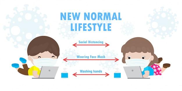 Powrót do szkoły, aby uzyskać nowy normalny styl życia, dystans społeczny w klasie, koncepcja, wskazówki dotyczące zapobiegania infografika koronawirus 2019 ncov. małe dzieci i laptop i tablet pc i noszenie maski w klasie
