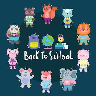 Powrót do szkoły bajki zwierząt koło z projektowaniem ikon, klasą edukacji i tematem lekcji wektor