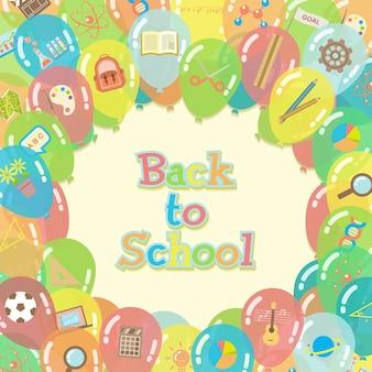 Powrót do szkoły balony tło