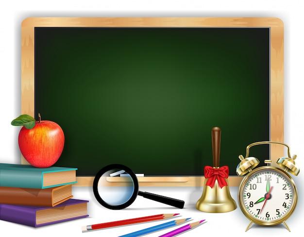 Powrót do szkoły. baner dnia wiedzy. zielona tablica.