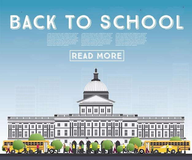Powrót do szkoły. baner z szkolnym autobusem, budynkiem i uczniami. ilustracja wektorowa.