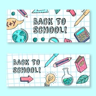 Powrót do szkoły banery ręcznie rysowane projekt