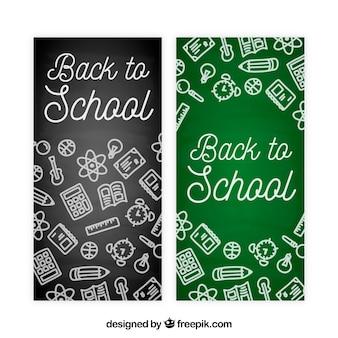 Powrót do szkoły banery w stylu kredy