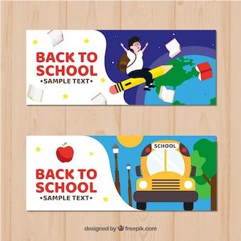 Powrót do szkoły banery z płaskiej konstrukcji