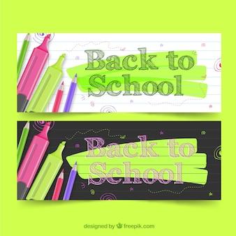 Powrót do szkoły banery z realistycznym stylu