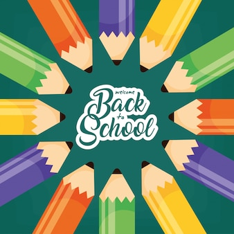 Powrót do szkoły banner z kolorowymi ołówkami
