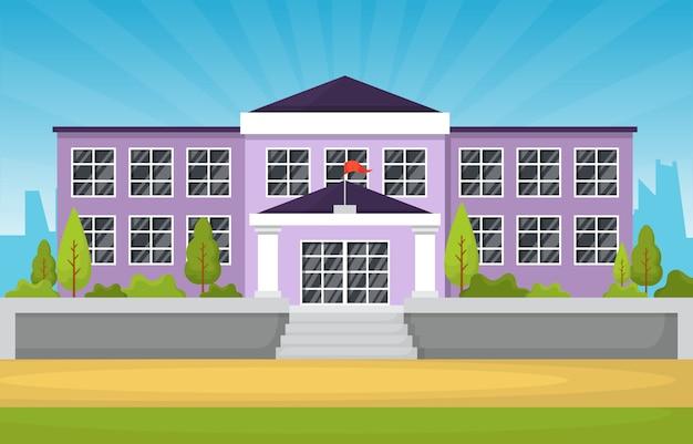 Powrót do szkoły, budynek edukacji, park, ilustracja kreskówka na zewnątrz krajobraz