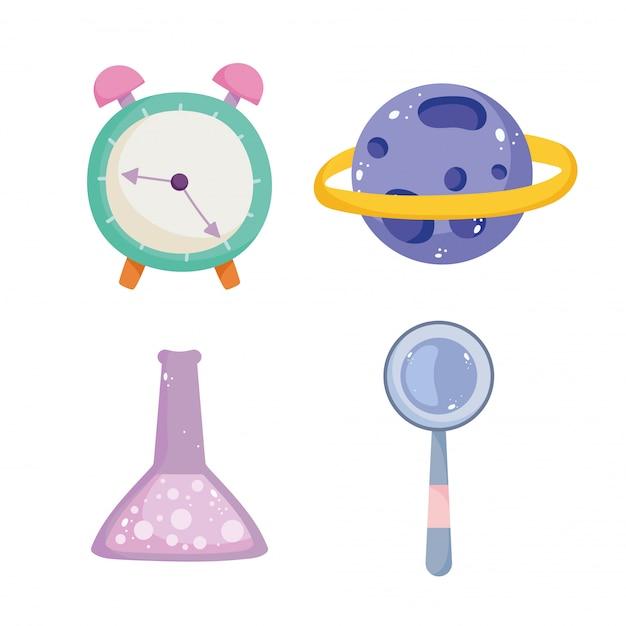Powrót do szkoły, chemia kolby zegar magnfiiera i ikony kreskówka edukacji podstawowej planety