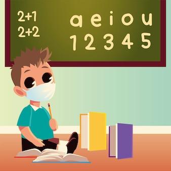Powrót do szkoły chłopca z maską medyczną i zeszytami, tematem edukacji i dystansu społecznego