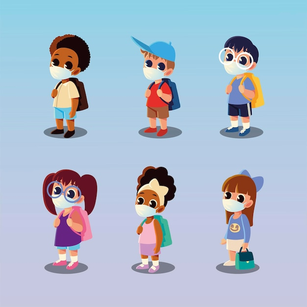 Powrót do szkoły chłopców i dziewcząt z maskami medycznymi, dystansem społecznym i motywem edukacji