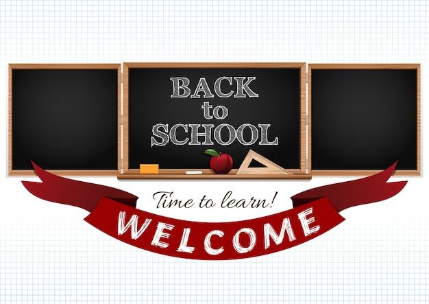 Powrót do szkoły. czas na naukę. witaj w szkole. ilustracja