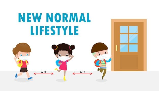Powrót do szkoły dla nowej koncepcji banera normalnego stylu życia. szczęśliwe dzieci noszące maskę i zachowujące dystans społeczny chronią koronawirusa covid 19, grupa dzieci na czas oczekiwania zachowuje dystans, wejdź do klasy