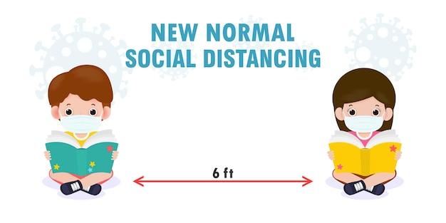 Powrót do szkoły dla nowej koncepcji normalnego stylu życia dystans społeczny słodkie dzieci czytające książkę i noszące maskę na twarz w celu zapobiegania koronawirusowi ncov lub covid na białym tle płaski styl