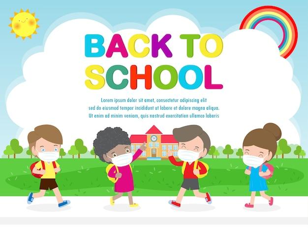 Powrót do szkoły dla nowej koncepcji normalnego stylu życia dzieci noszące maskę i dystans społeczny chronią koronawirusa covid 19 na białym tle na tle