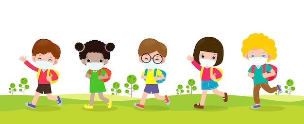 Powrót do szkoły dla nowej koncepcji normalnego stylu życia grupa uczniów idących idzie do szkoły wektor