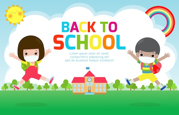 Powrót do szkoły dla nowej koncepcji normalnego stylu życia. szczęśliwa grupa dzieci noszących maskę na twarz i dystans społeczny chroni koronawirusa covid 19, dzieci i przyjaciele chodzą do szkoły na białym tle