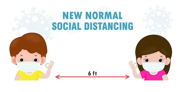 Powrót do szkoły dla nowej koncepcji normalnego stylu życia. szczęśliwe dzieci noszące maskę i dystans społeczny chronią koronawirusa covid 19, odizolowane na ilustracji w tle