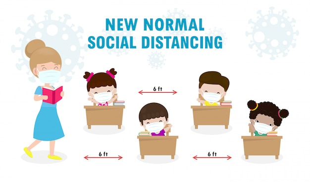 Powrót do szkoły dla nowej koncepcji normalnego stylu życia. szczęśliwych uczniów, dzieci i nauczyciela noszących maskę
