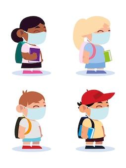 Powrót do szkoły dla nowych normalnych, małych uczniów, chłopców i dziewcząt z ilustracją ochronnych masek