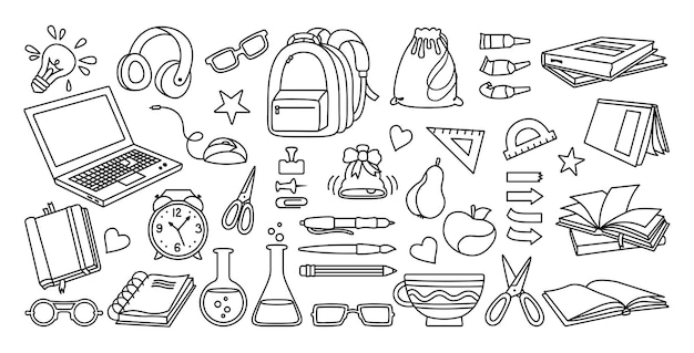 Powrót do szkoły doodle szkic zestaw kreskówek nauka szkoły płaskie ikona kolekcja linii pierwszy dzień wyposażenia szkoły zestaw ikon koncepcja edukacji nożyczki laptop okulary książka plecak farby