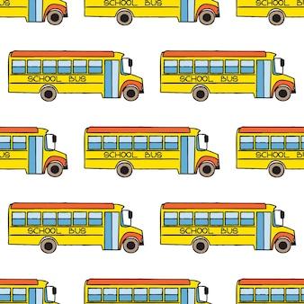 Powrót do szkoły doodle wzór. kolorowy autobus szkolny kreskówka. element projektu do tapet, tła strony internetowej, papieru do pakowania, ulotki sprzedaży, scrapbookingu itp. ilustracja wektorowa