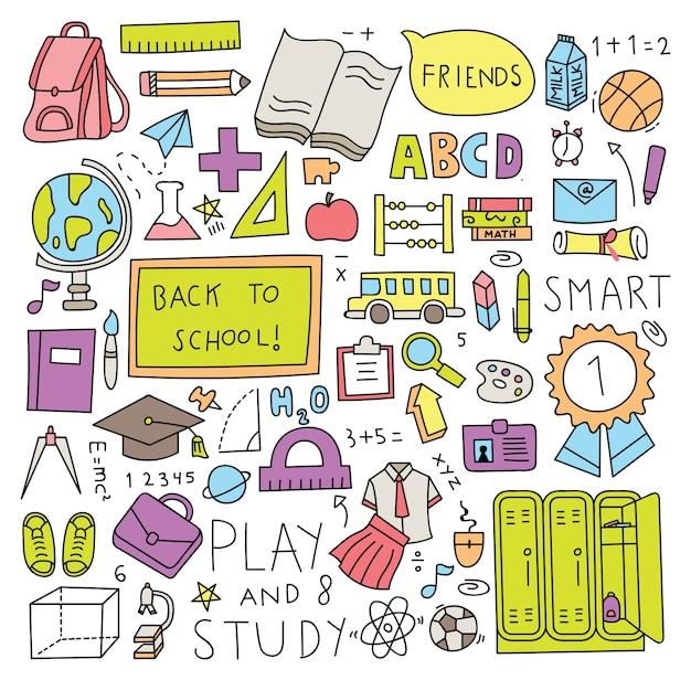 Powrót do szkoły doodle zestaw ilustracji wektorowych