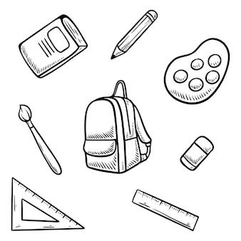 Powrót do szkoły doodle zestaw ilustracji
