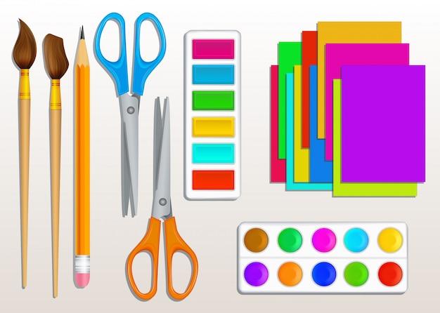 Powrót do szkoły dostarcza wektor zestaw realistycznych kolorowych farb, pędzli, nożyczek, ołówka i kolorowego papieru. projektowanie elementów dla sztuki i rzemiosła, materiałów biurowych, edukacji