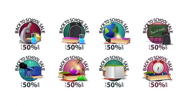 Powrót do szkoły, duża kolekcja okrągłych kuponów rabatowych z przyborami szkolnymi