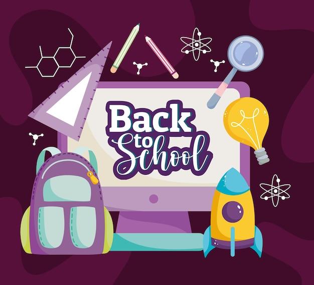 Powrót do szkoły, edukacja, plecak, klasa, kreatywność, ilustracja