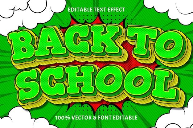 Powrót do szkoły edytowalny efekt tekstowy 3 wymiary wytłoczony styl komiksowy