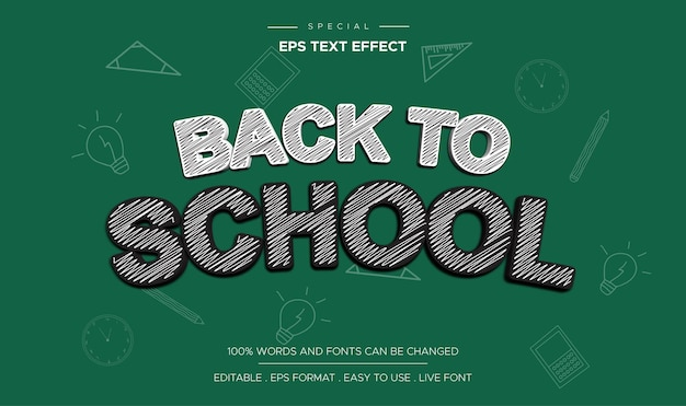 Powrót do szkoły edytowalny efekt tekstowy w stylu kreskówki komiks tytuł szablonu