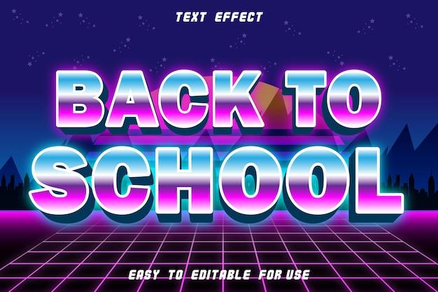 Powrót do szkoły edytowalny efekt tekstowy wytłoczony styl retro