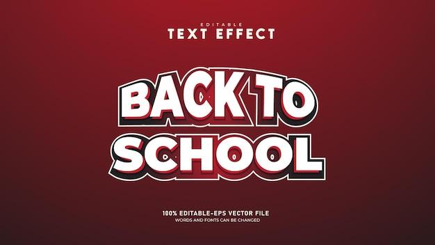 Powrót do szkoły edytowalny szablon 3d efekt tekstowy wektor premium