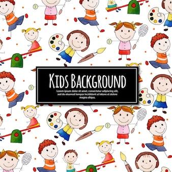 Powrót do szkoły happy kids background