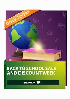 Powrót do szkoły i tydzień ze zniżkami, rabatowy pionowy baner internetowy z podręcznikami globu i szkoły