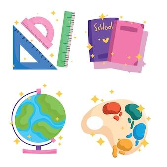 Powrót do szkoły ikony ustawić palety akwarelowe książki linijka mapa świata